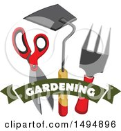 Gardening Banner With Tools
