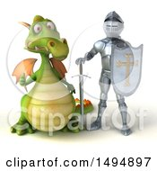Clipart Of A 3d Armored Knight And Green Dragon On A White Background Royalty Free Illustration by Julos