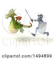 Clipart Of A 3d Armored Knight Chasing A Green Dragon Royalty Free Vector Illustration