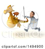 Clipart Of A 3d Knight Chasing A Yellow Dragon On A White Background Royalty Free Illustration