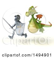 Clipart Of A 3d Knight Running From A Green Dragon On A White Background Royalty Free Illustration