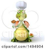 Clipart Of A 3d Green Chef Dragon On A White Background Royalty Free Illustration