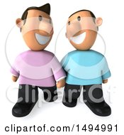 3d Casual Gay Couple On A White Background