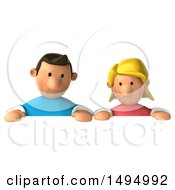 3d Casual White Couple On A White Background