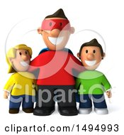 Clipart Of A 3d Super Man Or Dad With Kids On A White Background Royalty Free Illustration