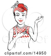 Friendly Red Haired Housewife Waitress Or Maid Woman Wearing An Apron And Resting One Hand On Her Chest While Holding The Other Hand Up Clipart Illustration