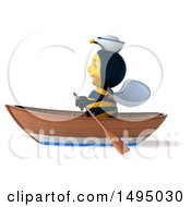 3d Male Bee Sailor Rowing A Boat On A White Background