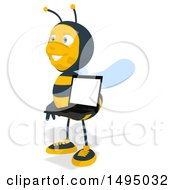 Poster, Art Print Of Cartoon Male Bee On A White Background