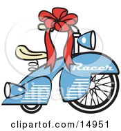 Poster, Art Print Of Brand New Blue Racer Tricycle Bike With A Red Ribbon In The Handlebars Retro