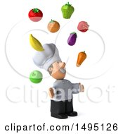 Clipart Of A 3d Short White Male Chef Juggling Produce On A White Background Royalty Free Illustration