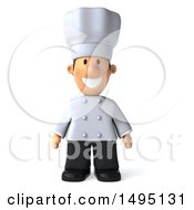 Clipart Of A 3d Happy Short White Male Chef On A White Background Royalty Free Illustration by Julos