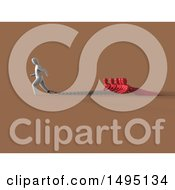 Clipart Of A 3d Man Chained To Other People Royalty Free Illustration