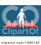 Clipart Of A 3d Man Chained To Other People Royalty Free Illustration by Julos