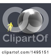 Clipart Of A 3d Blue Man Chained To A Ball Royalty Free Illustration by Julos