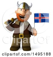 Poster, Art Print Of 3d Young Viking Holding An Iceland Flag And Sword On A White Background