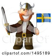 Poster, Art Print Of 3d Young Viking Holding A Swedish Flag And Sword On A White Background
