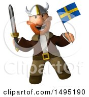 Clipart Of A 3d Young Viking Holding A Swedish Flag And Sword On A White Background Royalty Free Illustration