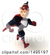 Clipart Of A 3d Buff White Male Maroon Hero On A White Background Royalty Free Illustration