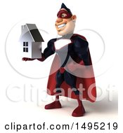 Clipart Of A 3d Buff White Male Maroon Hero On A White Background Royalty Free Illustration by Julos