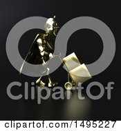 Clipart Of A 3d Gold Super Hero On Black Royalty Free Illustration