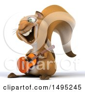 Clipart Of A 3d Squirrel On A White Background Royalty Free Illustration