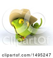 Clipart Of A 3d Green Snake Wearing A Cowboy Hat On A White Background Royalty Free Illustration