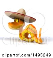 Clipart Of A 3d Orange Snake Wearing A Cowboy Hat On A White Background Royalty Free Illustration