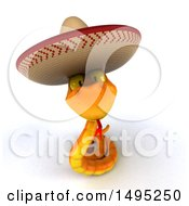 Clipart Of A 3d Orange Snake Wearing A Cowboy Hat On A White Background Royalty Free Illustration by Julos
