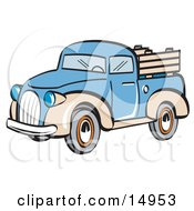 Blue And Tan Pickup Truck Clipart Illustration