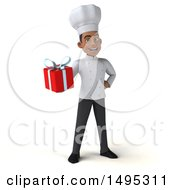 Poster, Art Print Of 3d Young Black Male Chef On A White Background