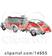 Poster, Art Print Of Green And Red Woody Car Hauling A Trailer And Carrying Skis And Poles On The Roof Retro