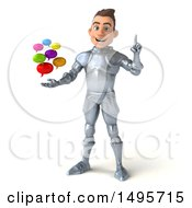 3d Caucasian Male Armored Knight On A White Background