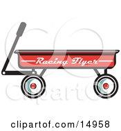 Red Pull Wagon Retro Clipart Illustration