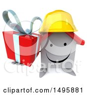 3d White Contractor Home Character On A White Background