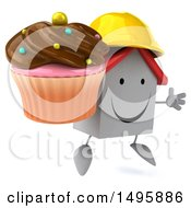 Clipart Of A 3d White Contractor Home Character On A White Background Royalty Free Illustration