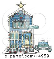 Car Covered In Snow Outside A Victorian House Decorated In Christmas Lights At 2365 Main Street Retro Clipart Illustration