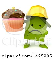3d Green Home Contractor Character On A White Background