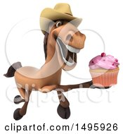 Poster, Art Print Of 3d Brown Cowboy Horse On A White Background