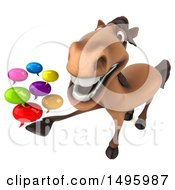 3d Brown Horse On A White Background