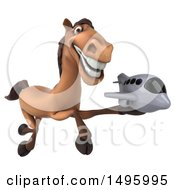 Clipart Of A 3d Brown Horse On A White Background Royalty Free Illustration