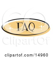 Orange FAQ Website Button That Could Link To A Frequently Asked Questions Information Page On A Site Clipart Illustration