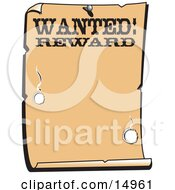 Vintage Wanted Sign Western Background Clipart Illustration