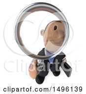 Clipart Of A 3d Short Black Business Man Searching With A Magnifying Glass On A White Background Royalty Free Illustration