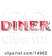 Red Diner Sign Clipart Illustration