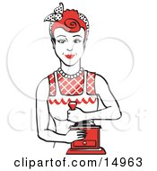Red Haired Housewife Or Maid Woman Facing Front And Smiling While Using A Manual Coffee Grinder Clipart Illustration by Andy Nortnik