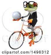 3d Green Business Springer Frog On A Bicycle On A White Background