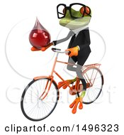 Clipart Of A 3d Green Business Springer Frog On A Bicycle On A White Background Royalty Free Illustration