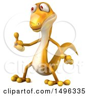 3d Yellow Gecko Lizard On A White Background