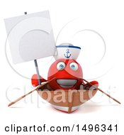3d Red Sailor Fish Rowing A Boat On A White Background