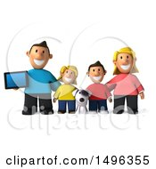 3d Casual White Family With A Dog And Tablet On A White Background